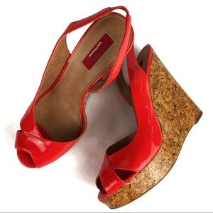 Saks Fifth Avenue Red label Patent Cork Wedge 40